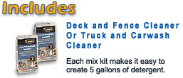 Includes Detergent Mix Kits