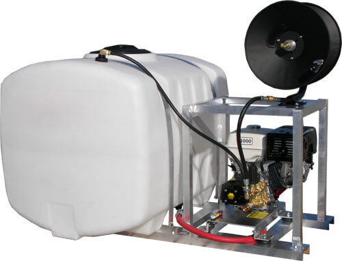 Skid mount pressure washer mobile wash system